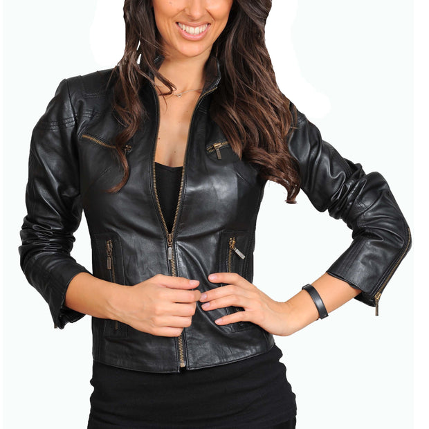Womens Fitted Leather Biker Jacket Casual Zip Up Coat Jenny Black