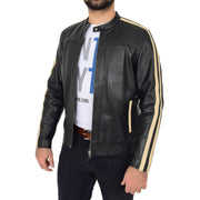 Mens Black Leather Biker Casual Contrasting Stripes Jacket Butch Open Side 2