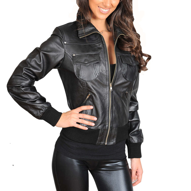 Womens Slim Fit Bomber Leather Jacket Cameron Black main view