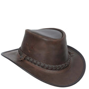 Authentic Australian Bush Leather Cowboy Hat Brown