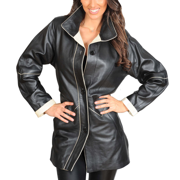Ladies Classic Parka Real Leather Coat Trim Jacket Lulu Black-Beige