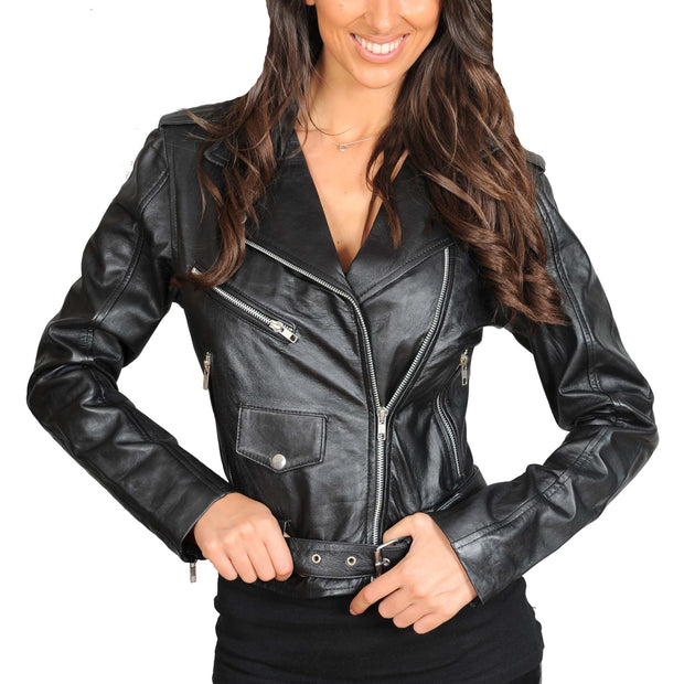 Ladies Belted Gorgeous Fitted Biker Real Leather Jacket Megan Black