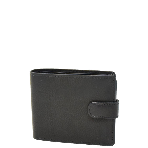 Mens Real Leather Bifold Clip Closure Wallet AV86 Black Front
