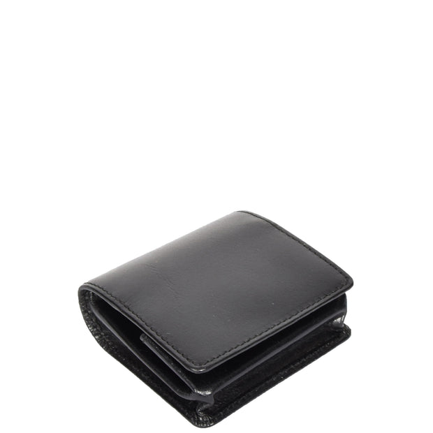 Real Leather Coin Tray Wallet Loose Change Case Black AV21 Top