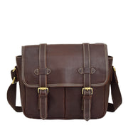 Real Leather Cross Body Shoulder Bag Multi Use Camera Organiser Bussell Brown Front