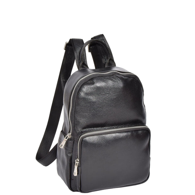 Girls Real Black Leather Backpack Work Casual Classic Bag Kaya