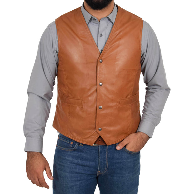 Mens Soft Leather Waistcoat Classic Gilet Bruno Tan button fasten view