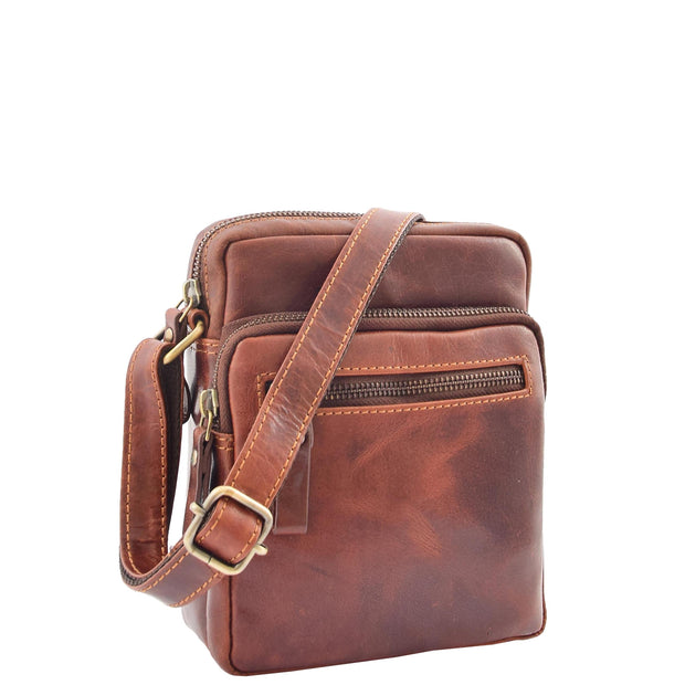 Mens Brown Leather Cross Body Flight Bag Multi Zip Pockets Pouch Cooper