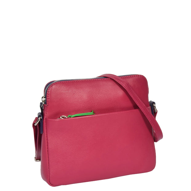 Womens Soft Leather Cross Body BERRY Sling Shoulder Bag Polly
