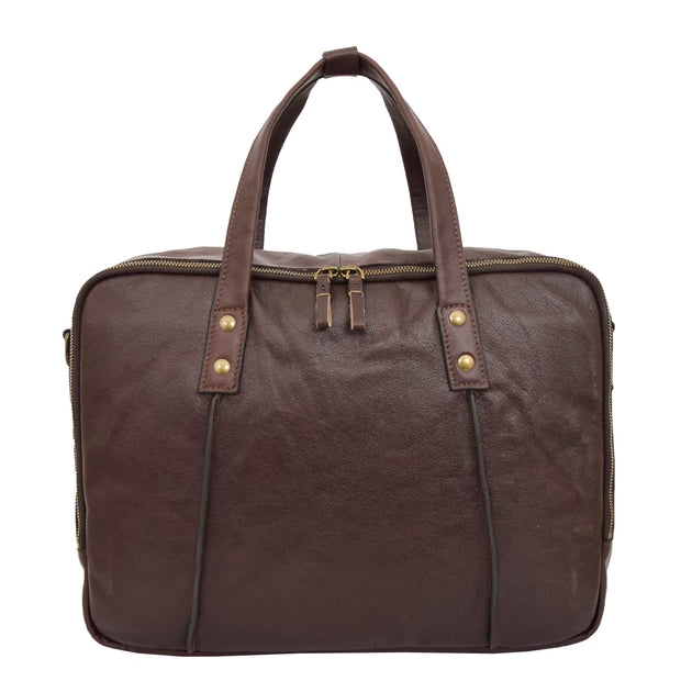 Womens Leather Briefcase Shoulder Organiser Laptop Handbag Acer Brown Front