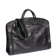 Genuine Soft Leather Suit Carrier Dress Garment Bag A173 Black