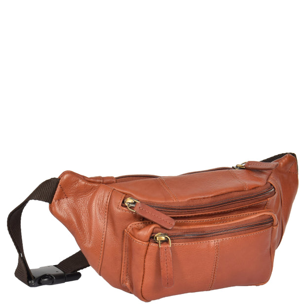 Real Leather Bum Bag Money Mobile Belt Waist Pack Travel Pouch A072 Brown Front