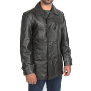 Mens Trench Leather Fitted Reefer Military Overcoat Ernest Brown