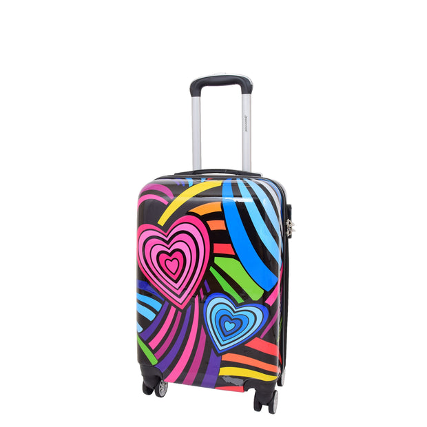Cabin Size Suitcase Multicolour Hearts Travel Bag 4 wheel Hand Luggage A20S