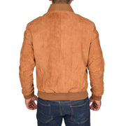 Mens Soft Goat Suede Bomber Varsity Baseball Jacket Blur Tan Back
