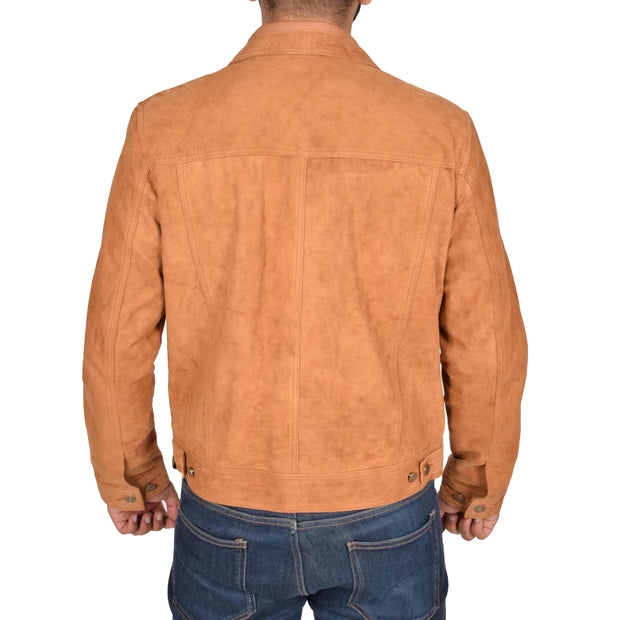 Mens Real Soft Goat Suede Trucker Denim Style Jacket Chuck Tan Back