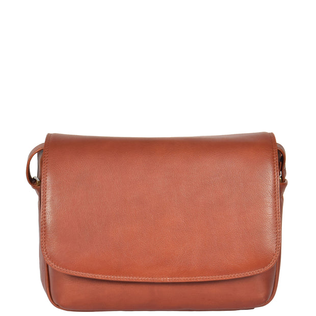Ladies BROWN Leather Shoulder Bag Flap Over Handbag A190 Front