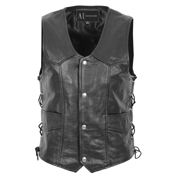 Mens Genuine Cowhide Black Leather Waistcoat Laced Sides Bikers Gilet Capone