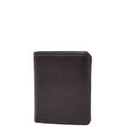 Mens Soft Durable Leather Wallet Cards Coins Notes ID Holder AV111 Brown Front