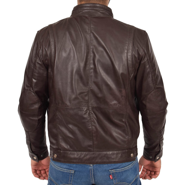 Mens Genuine Leather Biker Jacket Fitted Zip Up Coat Felix Brown Back