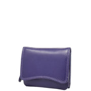Womens Trifold Genuine Leather Purse Compact Clutch Style Wallet AL16 Purple