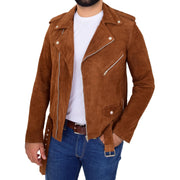 Genuine Suede Leather Biker Jacket For Mens Fitted Brando Coat Jay Cognac Open 1