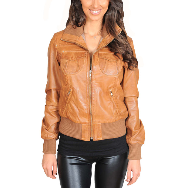 Womens Slim Fit Bomber Leather Jacket Cameron Tan Front
