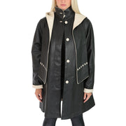 Ladies Parka Leather Coat Black Beige Trim Hooded with Scarf Dress Jacket Pat