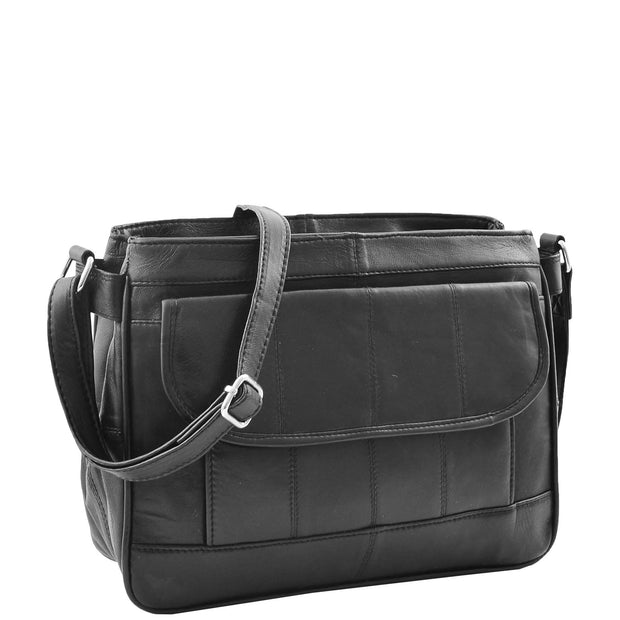 Ladies Soft Black Leather Crossbody Bag Twin Zip Top Casual Organiser Edwina