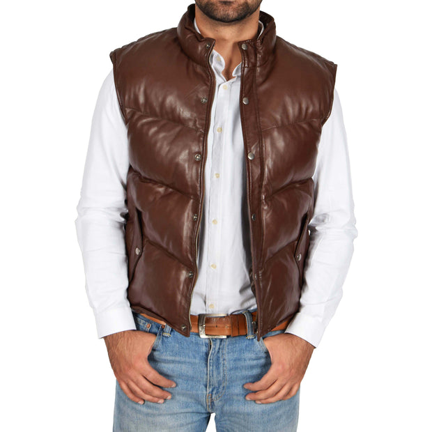 Mens Quilted Leather Waistcoat Body Warmer Gilet Jeff Brown Open 1