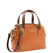 Womens Cognac Leather Tote Handbag Zip Top Smart Designer Bag Lisa Front