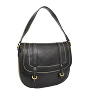 Womens Genuine Black Leather Satchel Bag Classic Hobo Shoulder Handbag Cecil