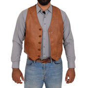 Mens Full Leather Waistcoat Gilet Traditional Smart Vest King Tan Open