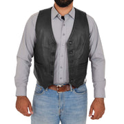 Mens Full Leather Waistcoat Gilet Traditional Smart Vest King Black Open