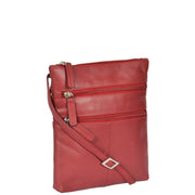 Womens Cross-Body Real Leather Shoulder Travel Bag A606 Red