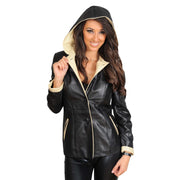 Womens Real Leather Blazer Jacket Mid Length Hooded Coat Eva Black Front