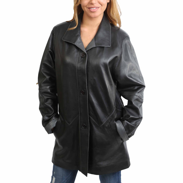 Ladies Classic Parka Real Leather Coat Trim Jacket Lulu Black-Grey