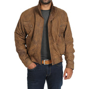 Mens Classic Bomber Nubuck Leather Jacket Alan Brown open zip view