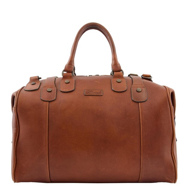 Genuine Vintage Chestnut Leather Holdall Travel Duffle Weekend Bag Rove Front