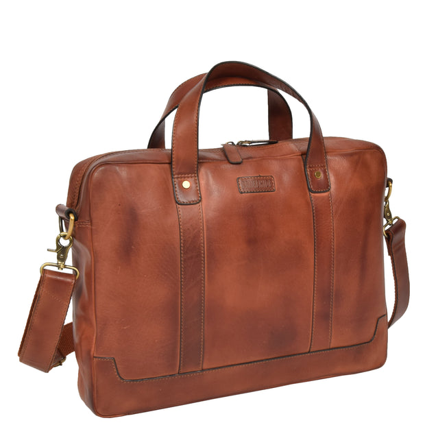 Real Soft Leather Satchel Vintage TAN Briefcase Business Office Bag Rio