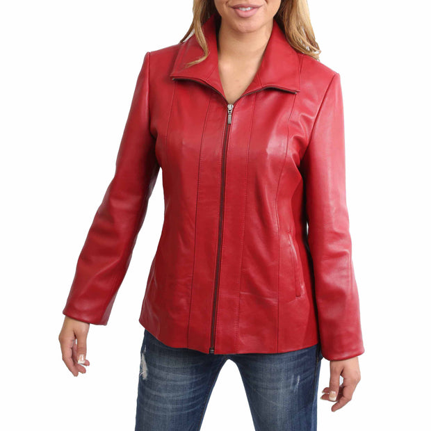 Womens Classic Fitted Biker Real Leather Jacket Nicole Red