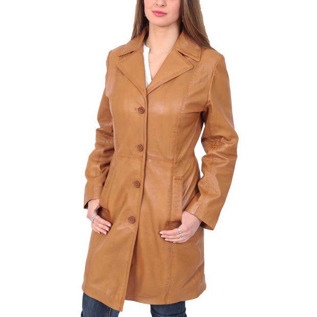 Womens 3/4 Button Fasten Leather Coat Cynthia Tan