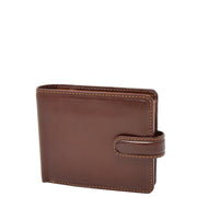 Mens High Quality Real Italian Leather Wallet Purse AVT53 Brown Front