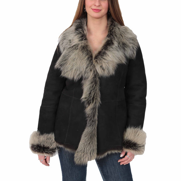 Womens Fitted Genuine Toscana Real Sheepskin Coat Pearl Black Front