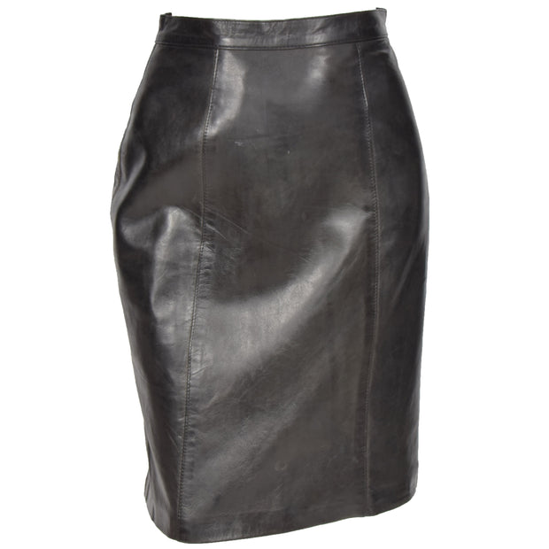 Womens Black Leather Pencil Skirt Lucy main