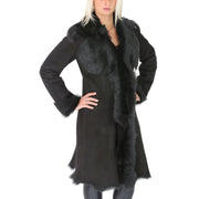Womens Luxurious Toscana Long Coat Real Sheepskin Pamela Black