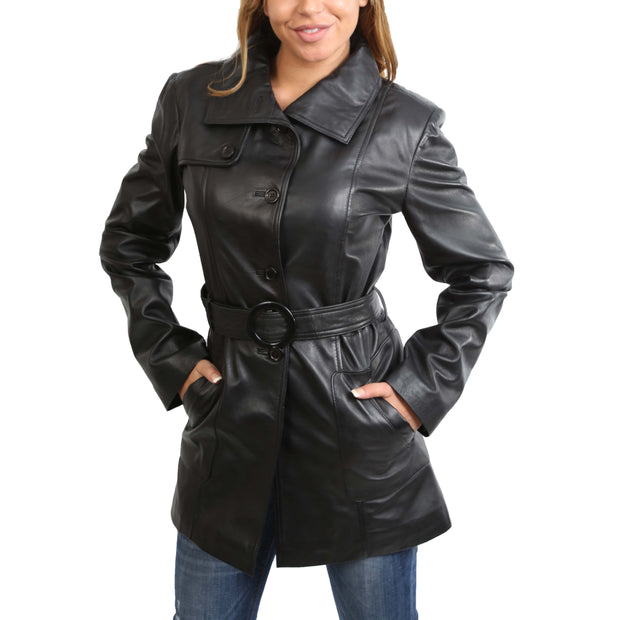 Womens Real Leather Hip Length Trench Parka Coat Alba Black