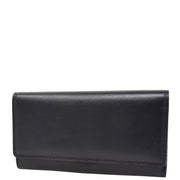 Womens Soft Leather Clutch Purse Envelope Style Wallet AVT3 Black