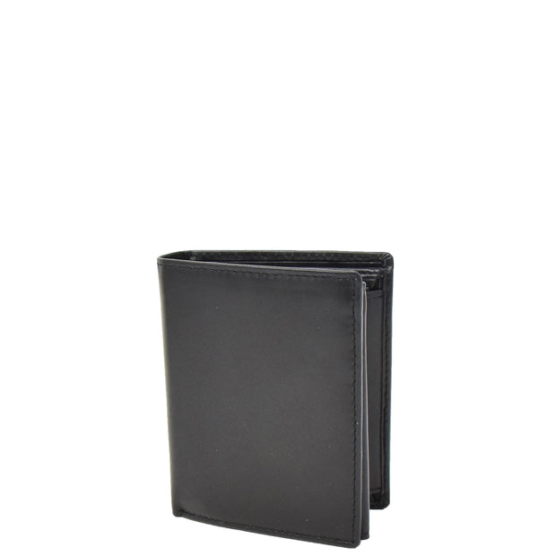 Mens Soft Leather Small Wallet Bifold Purse AL03 Black Front