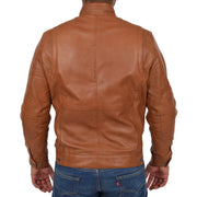Mens Genuine Leather Biker Jacket Fitted Zip Up Coat Felix Tan Back